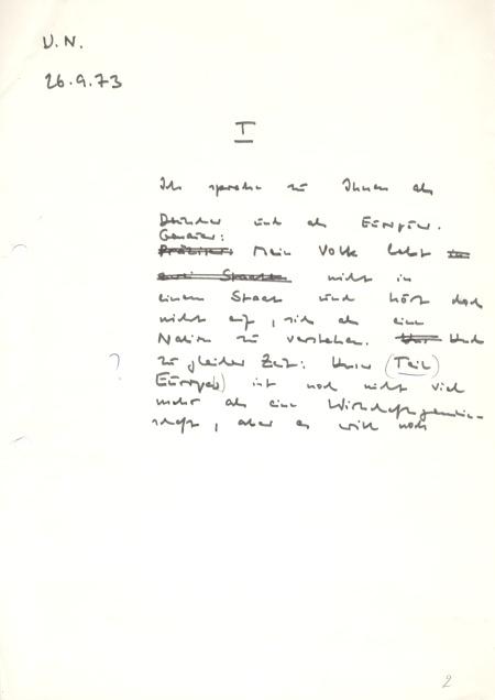 Auszug aus dem handschriftlichen Manuskript von Willy Brandt. Quelle: Willy-Brandt-Archiv im AdsD der Friedrich-Ebert-Stiftung.